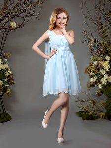 Lovely One Shoulder Mini Length Empire Sleeveless Light Blue Dama Dress for Quinceanera Zipper