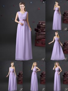 Gorgeous Floor Length Lace Up Bridesmaid Dresses Lavender for Prom and Party and Wedding Party with Lace and Appliques a