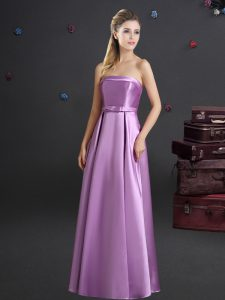 Lilac Empire Strapless Sleeveless Elastic Woven Satin Floor Length Zipper Bowknot Bridesmaid Dresses