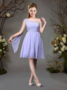 Exquisite Mini Length Lavender Bridesmaid Gown One Shoulder Sleeveless Zipper