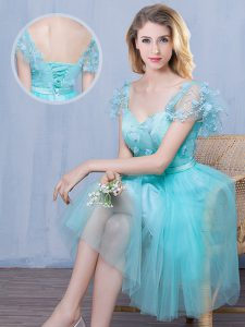 Popular Knee Length Aqua Blue Quinceanera Court of Honor Dress Tulle Short Sleeves Lace and Appliques and Bowknot