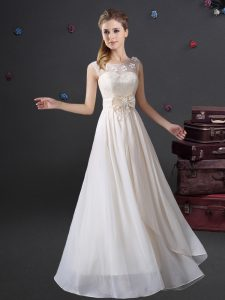 Scoop Floor Length Empire Sleeveless White Wedding Guest Dresses Zipper