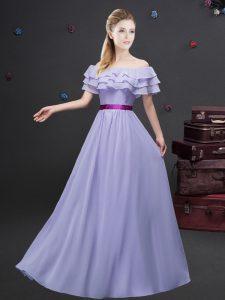 Off the Shoulder Ruffled Layers and Belt Dama Dress Lavender Zipper Short Sleeves Floor Length