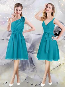 Simple Teal One Shoulder Neckline Ruffles and Ruching and Belt Quinceanera Court of Honor Dress Sleeveless Side Zipper