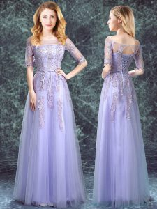 Clearance Square Appliques Vestidos de Damas Lavender Lace Up Half Sleeves Floor Length