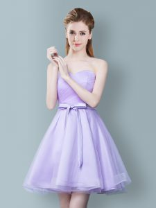 Super Sweetheart Sleeveless Tulle Dama Dress Ruching and Bowknot Zipper