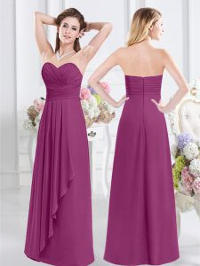 Sleeveless Ruching Zipper Bridesmaid Dress