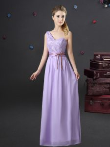 One Shoulder Floor Length Lavender Bridesmaid Gown Chiffon Sleeveless Lace and Appliques and Belt