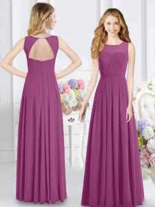 Gorgeous Scoop Chiffon Sleeveless Floor Length Quinceanera Court of Honor Dress and Ruching
