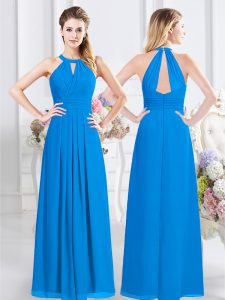 Best Floor Length Baby Blue Dama Dress for Quinceanera Halter Top Sleeveless Zipper