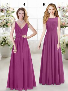 V-neck Sleeveless Dama Dress Floor Length Ruching Fuchsia Chiffon