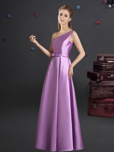 Perfect Lilac Quinceanera Court Dresses Prom and Party and Wedding Party and For with Bowknot One Shoulder Sleeveless Zi