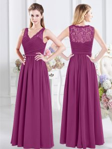 Fine Fuchsia Chiffon Side Zipper V-neck Sleeveless Floor Length Court Dresses for Sweet 16 Lace and Ruching