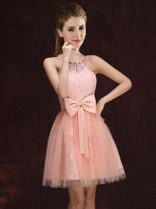 Halter Top Mini Length A-line Sleeveless Peach Quinceanera Court of Honor Dress Lace Up