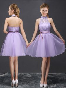 Halter Top Lace and Belt Quinceanera Court Dresses Lavender Lace Up Sleeveless Mini Length