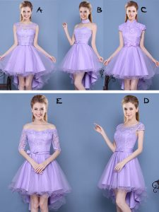 A-line Vestidos de Damas Lavender Sweetheart Taffeta and Tulle Sleeveless High Low Lace Up