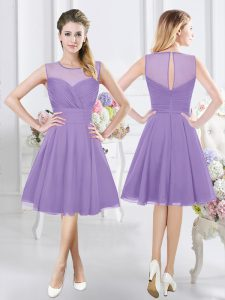 Lavender A-line Chiffon Scoop Sleeveless Ruching Knee Length Zipper Quinceanera Court Dresses