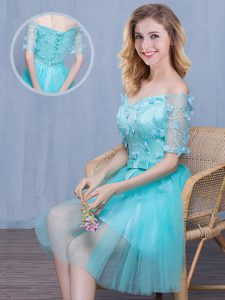 Admirable Off the Shoulder Short Sleeves Knee Length Lace and Appliques and Bowknot Lace Up Quinceanera Dama Dress with
