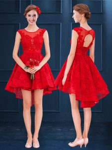 Red A-line Lace Scoop Sleeveless Lace High Low Lace Up Bridesmaid Dress