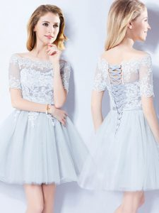 Stunning Off the Shoulder Light Blue Short Sleeves Mini Length Lace Lace Up Quinceanera Court of Honor Dress