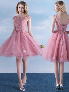 Unique Scoop Pink Tulle Lace Up Dama Dress for Quinceanera Cap Sleeves Knee Length Appliques and Belt