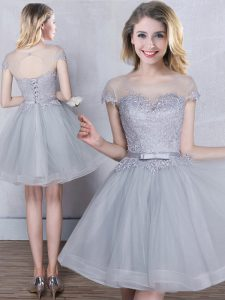 Inexpensive Scoop Grey A-line Appliques and Belt Dama Dress Lace Up Tulle Short Sleeves Mini Length