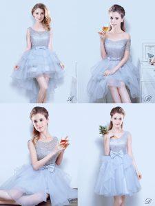 Scoop Grey Organza Lace Up Dama Dress Sleeveless Mini Length Lace and Ruffles and Ruffled Layers and Bowknot