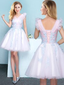 Superior White Tulle Lace Up V-neck Sleeveless Mini Length Dama Dress Appliques