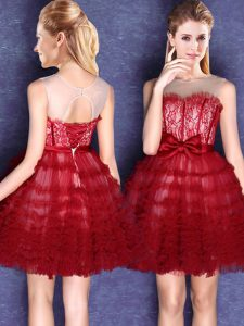 Scoop Wine Red Sleeveless Mini Length Lace and Bowknot Lace Up Quinceanera Court Dresses