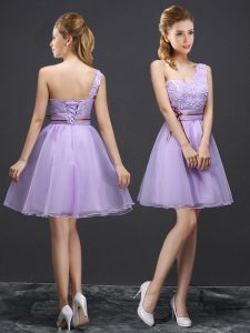 Most Popular One Shoulder Lavender Sleeveless Lace Mini Length Dama Dress for Quinceanera