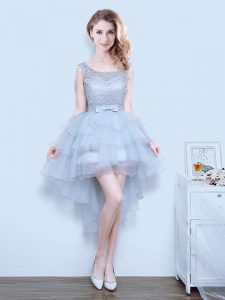 Free and Easy Organza Scoop Sleeveless Lace Up Lace and Ruffled Layers and Bowknot Wedding Guest Dresses in Grey