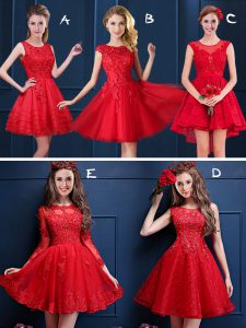 Red Damas Dress Prom and Party and Wedding Party and For with Lace and Appliques Scoop Sleeveless Lace Up