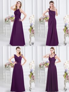 Sexy Halter Top Floor Length Lace Up Damas Dress Purple for Prom and Party and Wedding Party with Lace and Ruching
