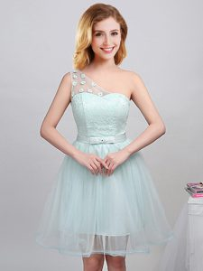 Tulle One Shoulder Sleeveless Lace Up Lace and Appliques and Belt Dama Dress for Quinceanera in Apple Green