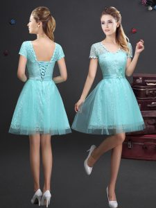 Aqua Blue Lace Up V-neck Lace and Appliques and Belt Court Dresses for Sweet 16 Tulle Short Sleeves