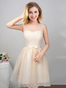 Glorious Scoop Champagne Sleeveless Lace and Appliques and Belt Mini Length Quinceanera Court Dresses