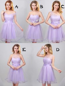 Lavender A-line Tulle Off The Shoulder Sleeveless Lace and Appliques and Belt Mini Length Lace Up Damas Dress
