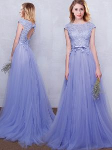 Scoop Cap Sleeves With Train Lace and Belt Backless Bridesmaids Dress with Lavender Brush Train