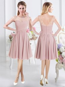 High End Scoop Pink Cap Sleeves Chiffon Zipper Damas Dress for Prom and Party and Wedding Party
