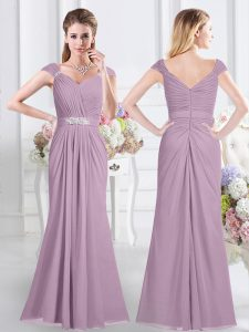Lavender Chiffon Zipper Vestidos de Damas Cap Sleeves Floor Length Beading and Ruching