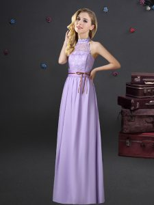 Superior Halter Top Sleeveless Chiffon Floor Length Lace Up Damas Dress in Lavender with Lace and Belt