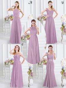 Latest Cap Sleeves Chiffon Floor Length Zipper Quinceanera Dama Dress in Lavender with Beading and Ruching