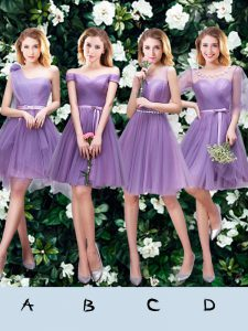 One Shoulder Mini Length Lace Up Wedding Guest Dresses Lavender for Prom and Party and Wedding Party with Beading and Ap