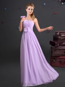 One Shoulder Chiffon Sleeveless Floor Length Dama Dress and Ruching and Hand Made Flower