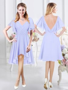 Lavender A-line V-neck Short Sleeves Chiffon High Low Zipper Ruching Wedding Party Dress
