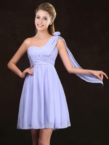 Dazzling One Shoulder Lavender Zipper Quinceanera Dama Dress Ruching and Hand Made Flower Sleeveless Mini Length