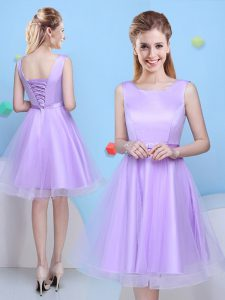 Lavender Quinceanera Court Dresses Prom and Party and For with Bowknot Scoop Sleeveless Lace Up