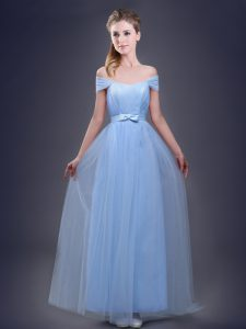 Best Tulle Off The Shoulder Sleeveless Lace Up Ruching and Bowknot Bridesmaid Dresses in Light Blue