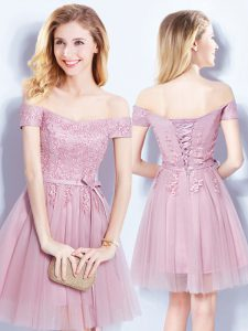 Glamorous Off the Shoulder Pink Empire Appliques and Belt Quinceanera Dama Dress Lace Up Tulle Sleeveless Mini Length