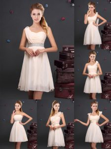 Champagne Chiffon Zipper Sleeveless Mini Length Bridesmaid Dresses Ruffles and Sequins and Ruching and Bowknot and Hand